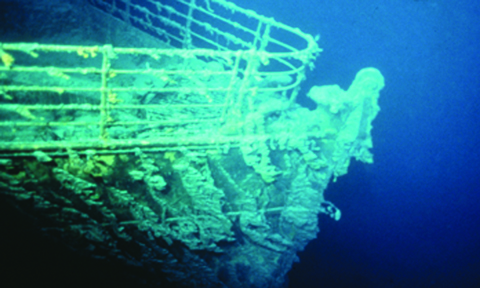 The bow of the Titanic as found in the North Atlantic. copyright RMS Titanic, Inc.