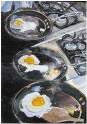 "Watercolor, ""Eggs Frying in the Pan,"" 2012 Ellen Orseck"