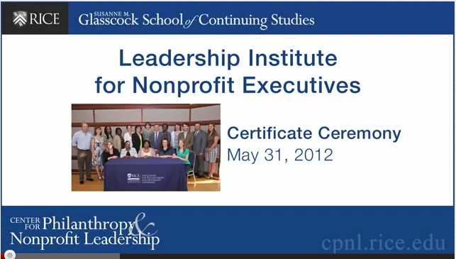 Leadership Institute for Nonprofit Executives Ceremony Video