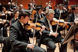 Houston Symphony Concertmaster Frank Huang and Associate Concertmaster Eric Halen. Photo by Bruce Bennett.