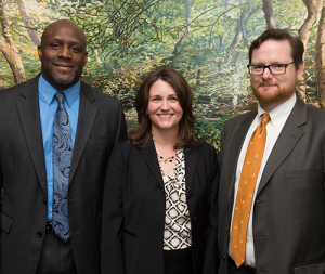 Dr. James Edwards, Center Director Angela Seaworth and Dr. Michael Moody