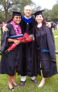 Two of the first MLS graduates: Raven Jones and Carmen Guerra-Rosas, with Dr. John Freeman – May 2008