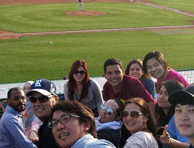 Students at baseball game