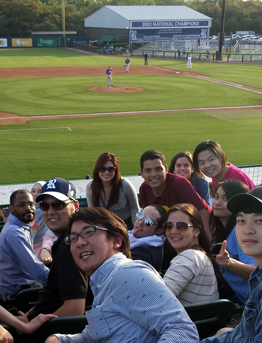 Students at baseball game