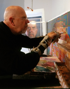 Chuck Close at work.