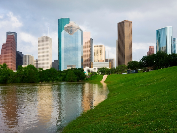 Houston skyline over bayou