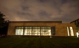 Hudspeth Auditorium in the evening