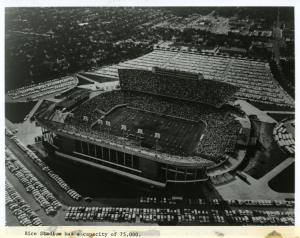 Rice University Stadium aerial view with caption regarding capacity of 75,000, 1970.