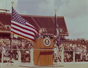 John F. Kennedy speaking at Rice Stadium, Rice University, 1962.