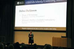 """Debra Dickinson gives the audience a preview of her upcoming """"Divas of Broadway"""" course."""